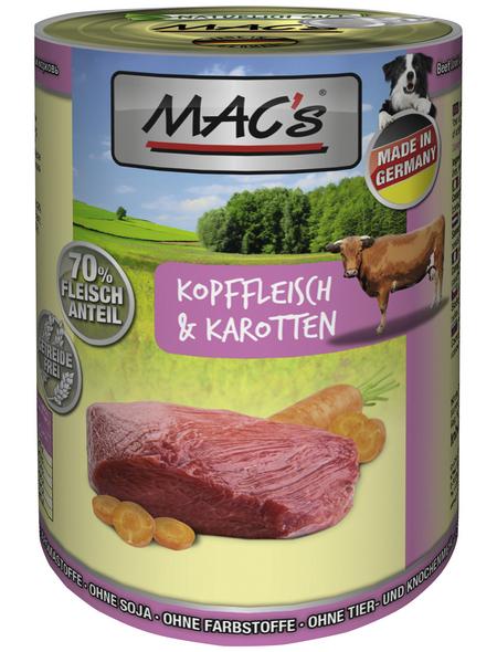 MAC'S Hunde-Nassfutter, Rind/Karotte, 6 Dosen