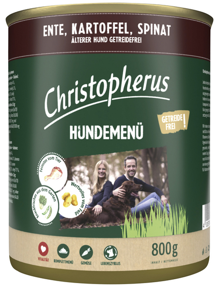 CHRISTOPHERUS Hunde-Nassfutter »Senior«, Ente, 800 g