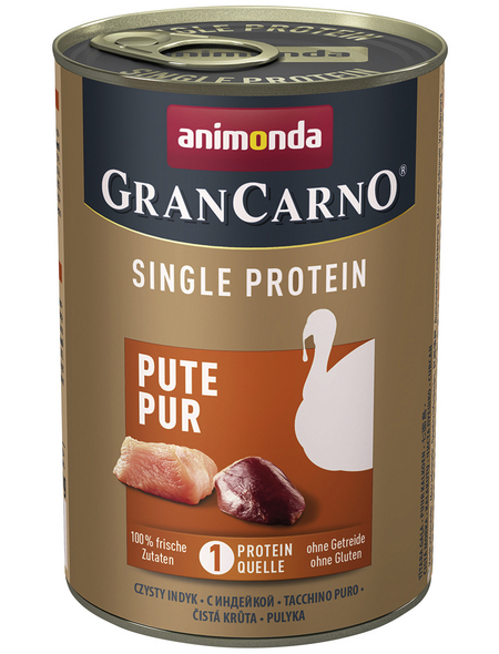 GranCarno® Hunde-Nassfutter »Single Protein«, Pute, 400 g