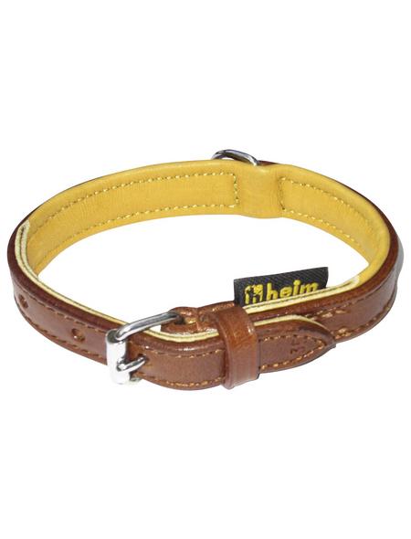 Hundehalsband, Größe: 35  cm, Rindsleder, natur/braun