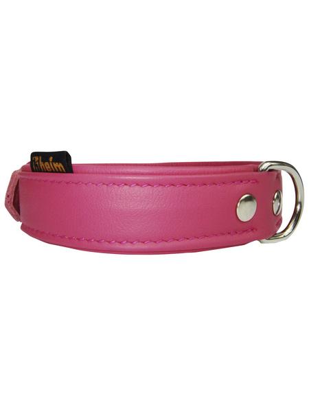 Hundehalsband, Größe: 35  cm, Rindsleder, pink