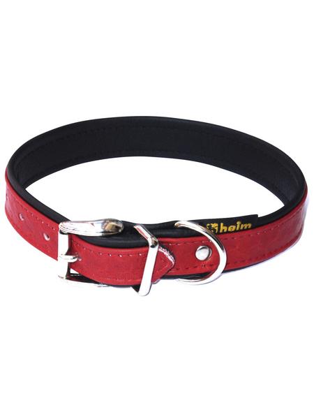 Hundehalsband, Größe: 35  cm, Rindsleder, rot/schwarz