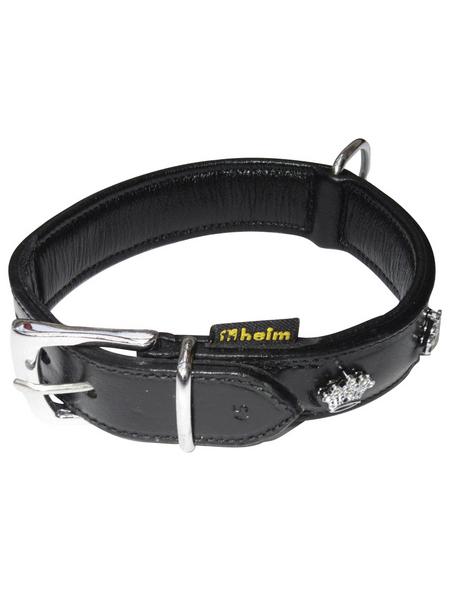 Hundehalsband, Größe: 45  cm, Rindsleder, schwarz