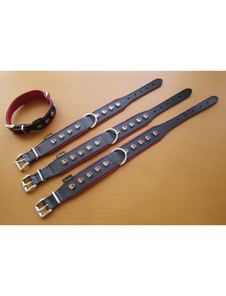 Hundehalsband, Größe: 50  cm, Rindsleder, rot/schwarz