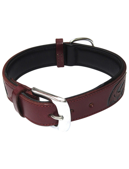 Hundehalsband, Größe: 65  cm, Rindsleder, bordeauxrot
