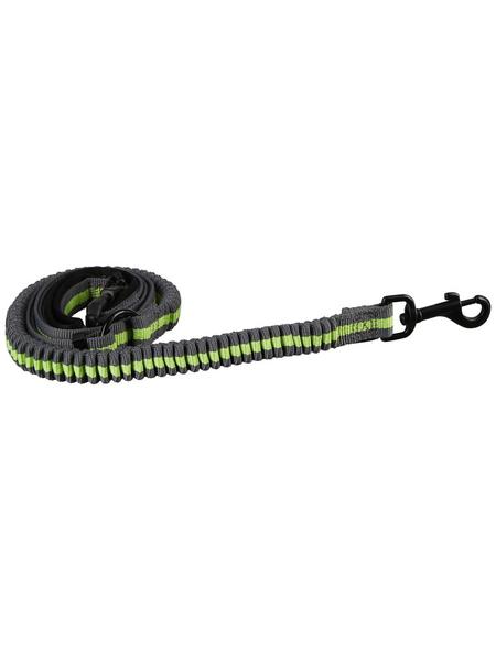 TRIXIE Hundeleine, Dog Activity Joggingleine, 1,33-1,80 m/20 mm, Polyester, Grau | Grün