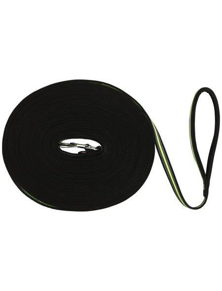 TRIXIE Hundeleine, Fusion, 15 m/17 mm, Gurtband, Schwarz | Grün