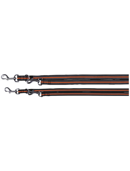 TRIXIE Hundeleine, Fusion, L–XL: 2,00 m/25 mm, Gurtband, Schwarz | Orange
