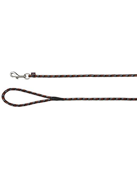 TRIXIE Hundeleine, Mountain Rope Schleppleine, 15 m/ø 8 mm, Nylon, Schwarz | Orange
