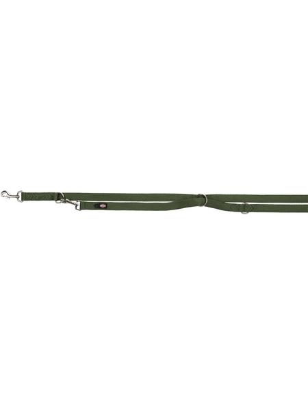 TRIXIE Hundeleine, Premium Verlängerungsleine, L–XL: 2,00 m/25 mm, Gurtband, Waldgrün