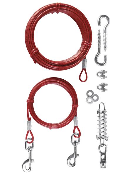 TRIXIE Hundeleine, Spannleine mit Laufleine, 15 m, Kunststoff, Rot