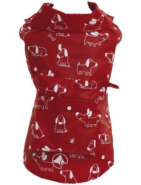 Amtra Hundemantel, rot, mit Gummiband, Muster: bedruckt