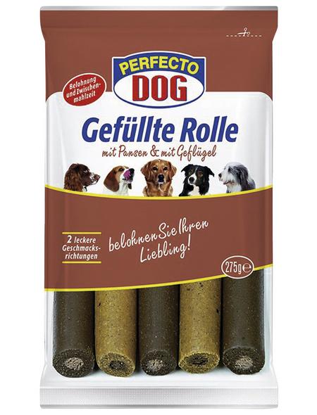 PERFECTO DOG Hundesnack »Gefüllte Rolle«, Geflügel  /  Pansen, 9x275 g
