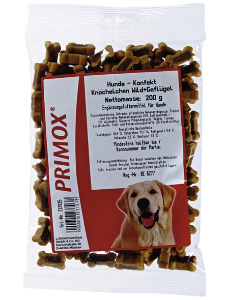 PRIMOX Hundesnack »Hundekonfekt«, Wild  /  Geflügel, 12x200 g