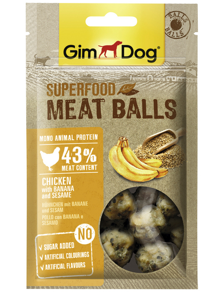 GIMDOG Hundesnack »Meat Balls«, Huhn  /  Banane, 8x70 g
