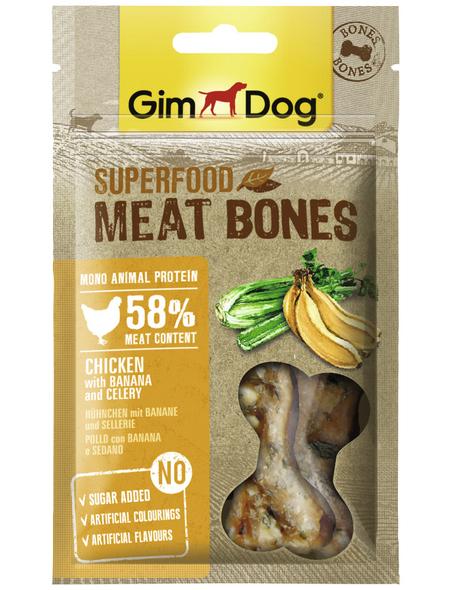 GIMDOG Hundesnack »Meat Bones«, Huhn  /  Banane, 8x70 g