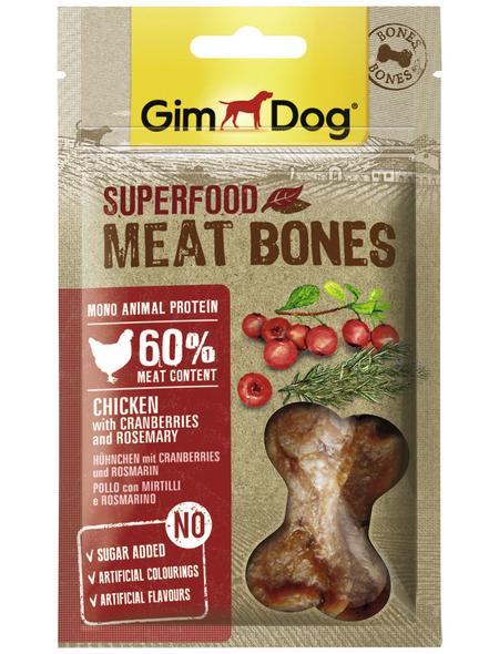 GIMDOG Hundesnack »Meat Bones«, Huhn  /  Cranberry, 8x70 g