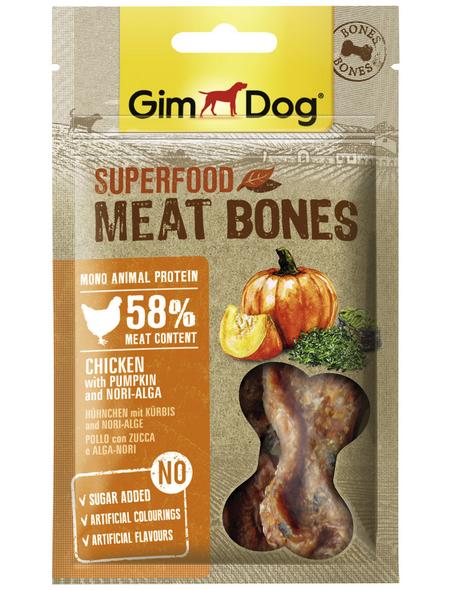 GIMDOG Hundesnack »Meat Bones«, Huhn  /  Kürbis, 8x70 g