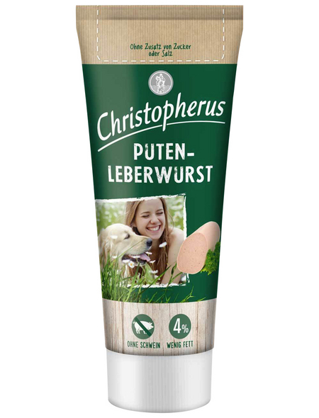 CHRISTOPHERUS Hundesnack »Putenleberwurst«, Pute, 12x75 g
