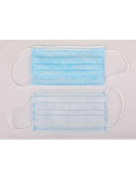 Hygienemaske, Weiß | Blau, Gewebe, 50 Stück