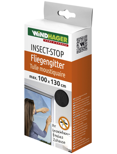 WINDHAGER Insektenschutzgitter, BxL: 100 x 130 cm, In Breite und Höhe kürzbar