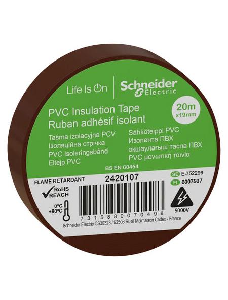 Schneider Electric Isolierband, Kunststoff, Braun, 19 mm x 20 m, Stärke: 0,15 mm