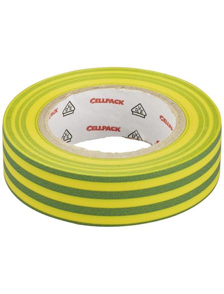 CELLPACK Isolierband, PVC, Gelb/Grün, 1.000 x 1,5 x 0,02 cm