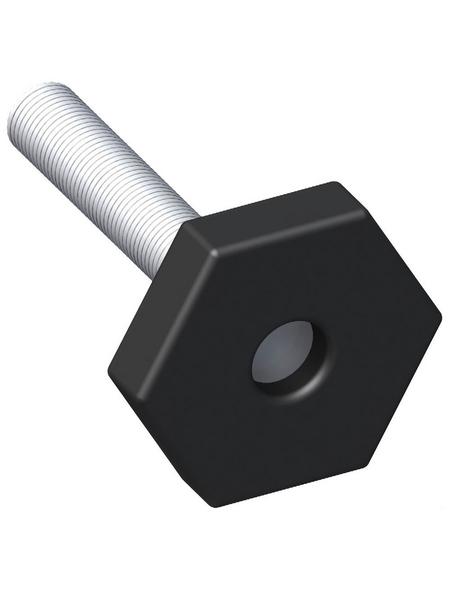 alfer® aluminium Justierfuß, BxHxT: 30 x 54 x 54 mm, schwarz