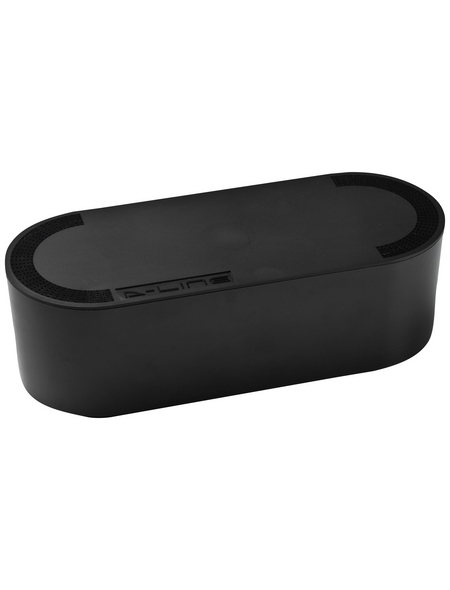 D-Line Kabelbox, groß, Schwarz, oval, 415 x 165 x 135 mm
