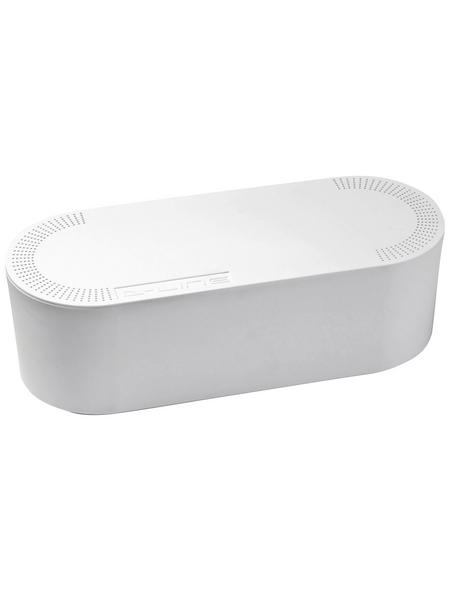 D-Line Kabelbox, groß, Weiß, oval, 415 x 165 x 135 mm