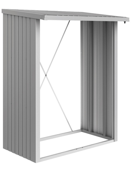 BIOHORT Kaminholzlager »WoodStock 150«, BxHxL: 157 x 199 x 102 cm, silber-metallic