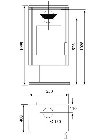 WAMSLER Kaminofen »Trion«, Stahl, 8 kW