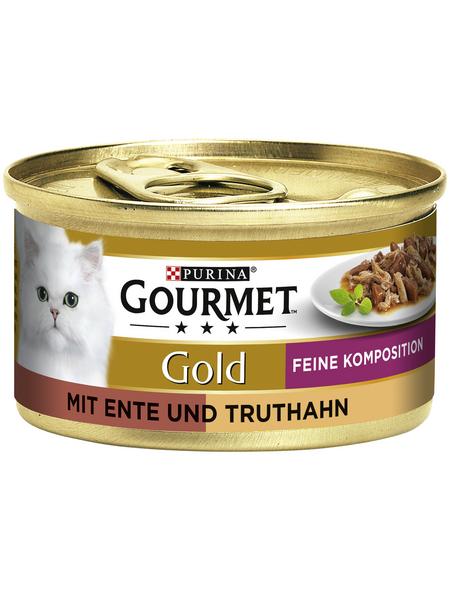 GOURMET Katzen-Nassfutter, 85 g, Ente/Truthahn