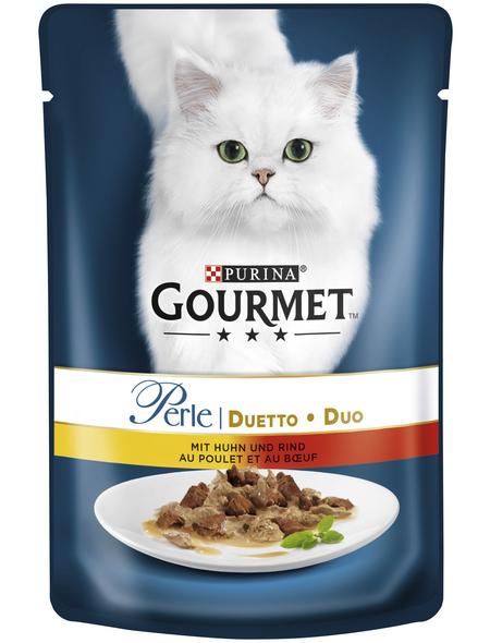 GOURMET Katzen-Nassfutter, 85 g, Huhn/Rind