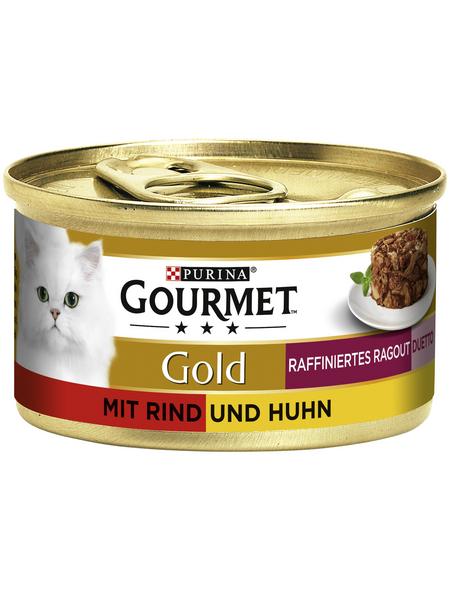 GOURMET Katzen-Nassfutter, 85 g, Rind/Huhn
