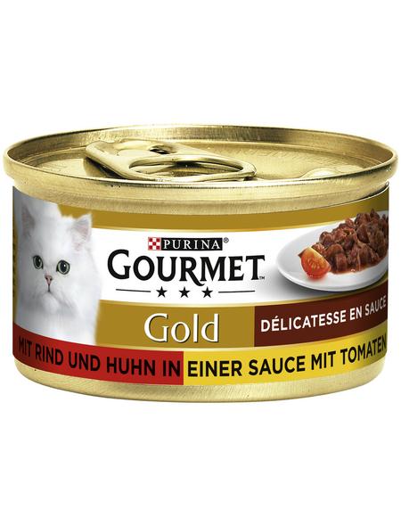 GOURMET Katzen-Nassfutter, 85 g, Rind/Huhn/Tomate