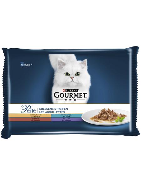 GOURMET Katzen-Nassfutter, 85 g, Truthahn/Thunfisch/Ente/Lamm