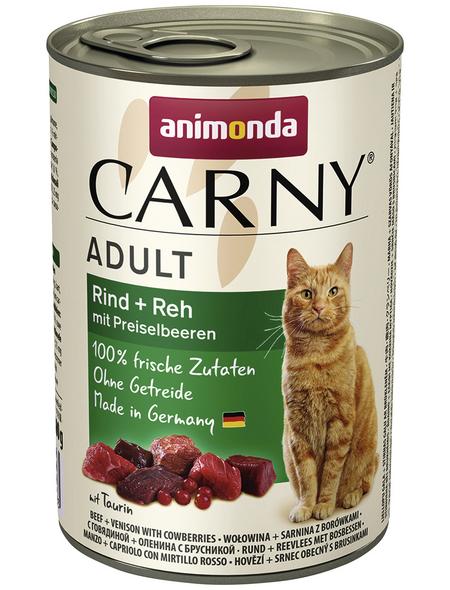 CARNY® Katzen-Nassfutter »Adult«, Rind/Reh/Preiselbeeren, 400 g