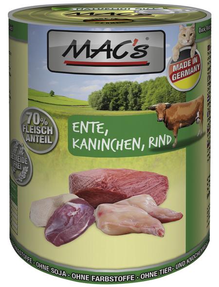 MAC'S Katzen-Nassfutter, Ente/Kaninchen/Rind, 6 x 400 g