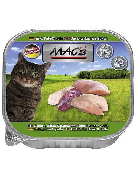 MAC'S Katzen-Nassfutter, Ente/Pute/Huhn, 16 x 85 g