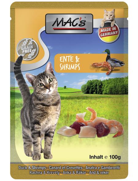 MAC'S Katzen-Nassfutter, Ente/Shrimps, 12 x 100 g