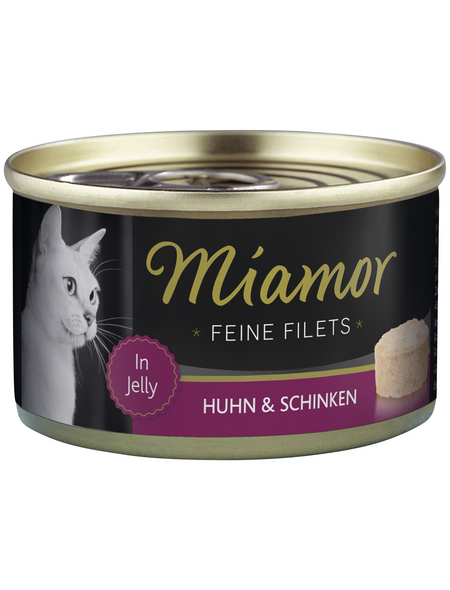 MIAMOR Katzen Nassfutter »Feine Filets in Jelly«, Huhn / Schinken, 24x100 g