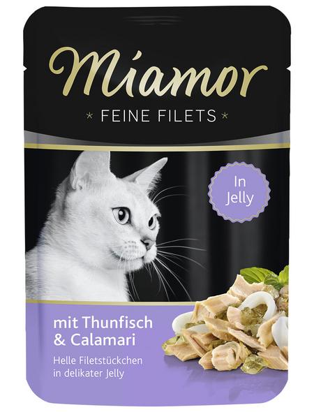 MIAMOR Katzen Nassfutter »Feine Filets in Jelly«, Thunfisch / Calamari, 24x100 g