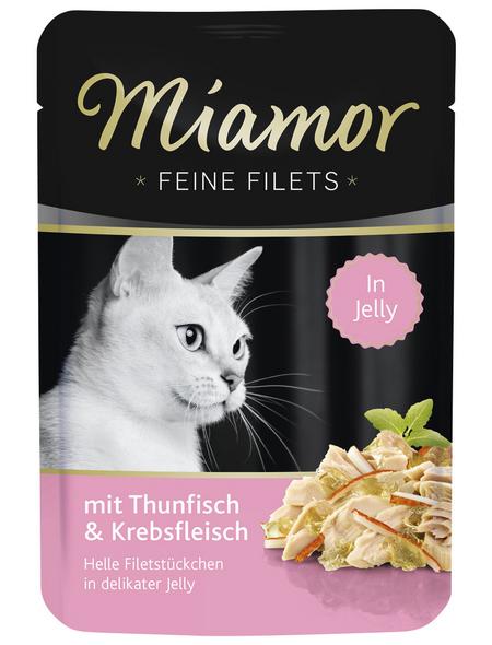 MIAMOR Katzen Nassfutter »Feine Filets in Jelly«, Thunfisch / Krebs, 24x100 g