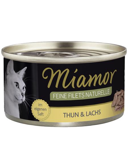 MIAMOR Katzen Nassfutter »Feine Filets Naturelle«, Thunfisch / Lachs, 24 x 80 g