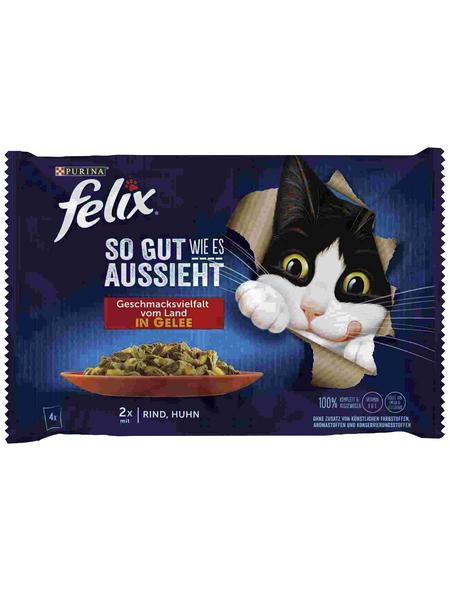 FELIX Katzen-Nassfutter »Felix So gut wie es aussieht«, Huhn/Rind
