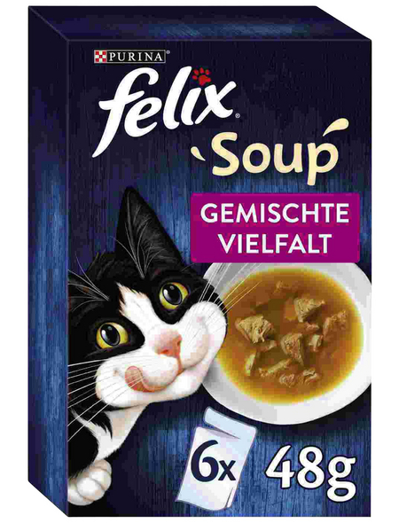 FELIX Katzen-Nassfutter »Felix Soup«, Rind/Huhn/Thunfisch, 6 x 48g