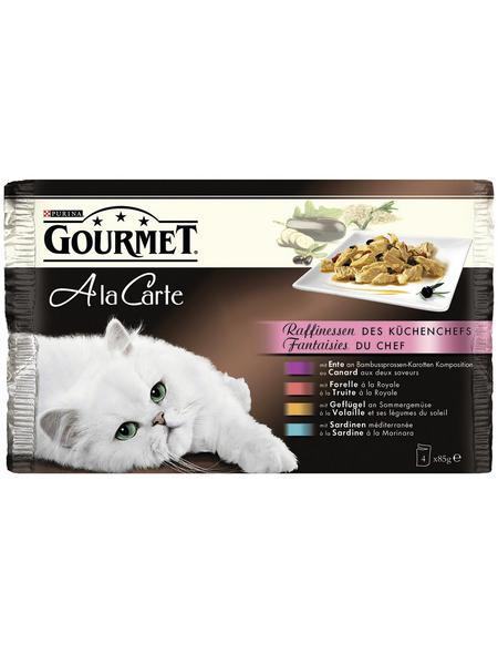 PURINA Katzen Nassfutter »Gourmet a la Carte«, Ente / Forelle / Geflügel / Sardinen, 12x4,08 kg