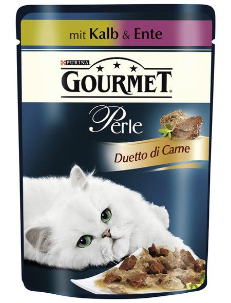 GOURMET Katzen Nassfutter »Gourmet Perle Duetto di Carne«, Kalb / Ente, 24x85 g