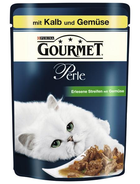 GOURMET Katzen Nassfutter »Gourmet Perle - Erlesene Streifen«, Kalb / Gemüse, 24x85 g